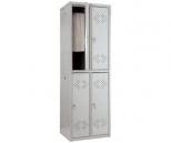 Металлический шкаф для одежды Практик LS-22, 4  секции, полка, крючки