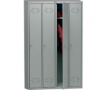 Металлический шкаф для одежды Практик LS-41, 4 секции, полка, перекладина, крючки