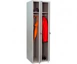 Металлический шкаф для одежды Практик LS-21-60, 2 секции, полка, перекладина, крючки